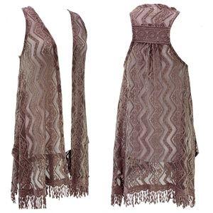 Daytrip Brown Lace Boho Vest Size Small